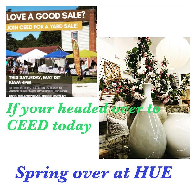 Great day to visit Bellport! Stop by and say hi to us at Hue and enjoy our Spring sale this weekend! #SALE #SPRING #homedesign #charmingtown #boutiqueshops #restaurants #bythebay #enjoythecoast