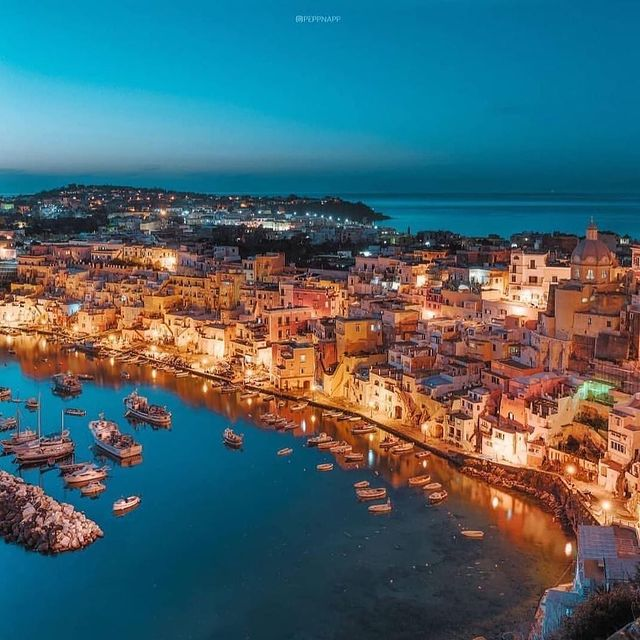 The island of Procida is even more beautiful after a summer sunset ? ? Photo @peppnapp * Una delle bellezze che puoi visitare soggiornando al @sorrento_coast_relais#enjoythecoast #procida #procidaisland #lacorricella #Italiancapitalofculture #lightblue #awesomeearth #islandprocida #bestplacesmagazine #italy_vacations #italiainfoto #procidaitaly #ig_italy #italytrip #wonderful_places #italian_places #best_italiansites #igersitalia #italy_vacations #traveltheworld #italytrip #destinationearth #earthpix #awesome_earthpix #bestitaliansites #ilpostino