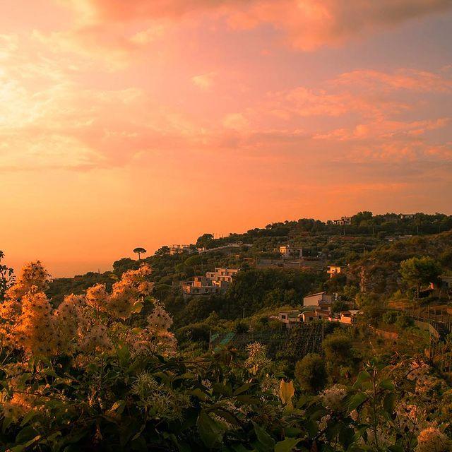 Where the sky pours copper and gold ✨ ?. . . #Sorrento #Italy #sunset #summertime #positivevibesonly #orangesky #coastofitaly #naturallight #ladolcevita #destinationdiscoveries #destinationearth #adventure #seaside #gulfofnaples #napoli #campania #campagna #history #rooftops #summervibes #traveldestinations #europe #romantic #enjoythecoast #aboutsorrento #termini #massalubrense #puntacampanella #campania #loveitaly