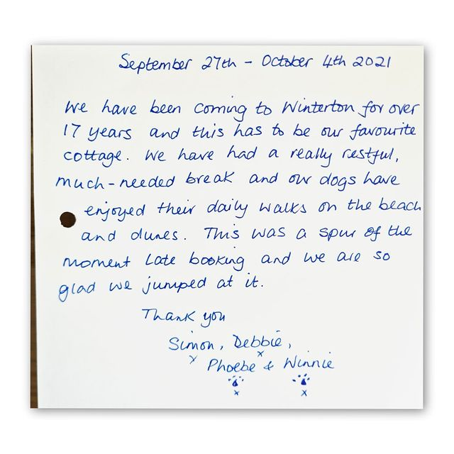 ?..AN OCTOBER STAY...? . Great review from our guests leaving today. They grabbed a cancellation and as you can see were really glad they did. . We suddenly have a 3 night gap next week from Monday 11th departing Thursday 14th. So if you fancy a short mid week break then please get in touch. . Absolutely beautiful weather in Winterton today. Hopefully we will have a glorious October! . #lastminute #lastminutebooking #midweekstay #enjoythecoast #crosswayscottagewinterton #spontaneous #comfycottagecharm #dogfriendlybeach #dogfriendlycottage #packabag
